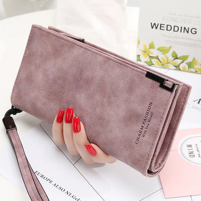 Women's Ladies Frosted Long Zipper Buckle Simple Student Wallet