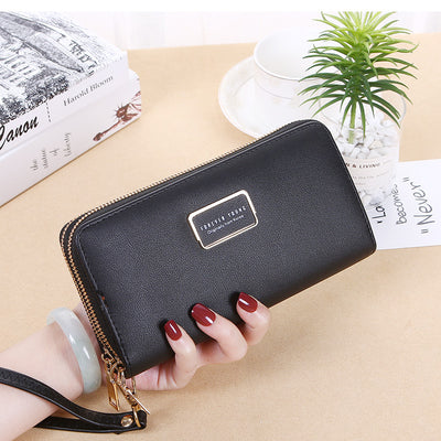 Women's Double Zip Wallet Lady Long Large Capacity Clutch Double Wallet Wallet Coin Mobile Phone Bag