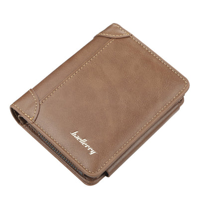 Men's Three Fold Vertical Zip Buckle Short Leather Wallet