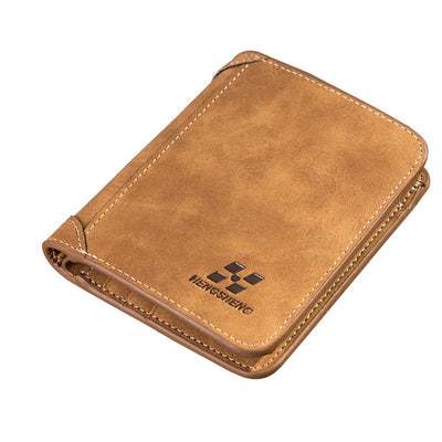 Men's Leather Retro Three Fold Vertical Wallet Men