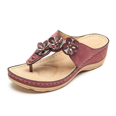 Women shoes Color Match Flower Flip Flops Beaded Casual Beach Sandals