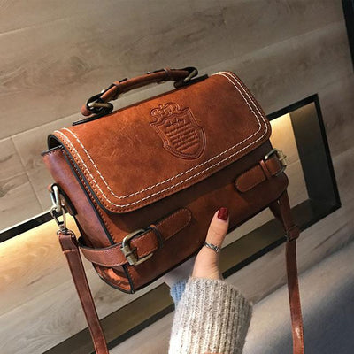 Women's  Double Buckle Badge Handbag Shoulder Bag