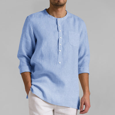 Men's long-sleeved solid color collar loose and comfortable cotton casual shirts