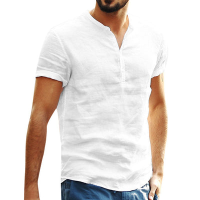 Men's cotton collar short-sleeved shirt