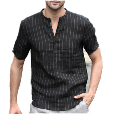 Men's fashion casual cotton striped short-sleeved pullover shirt collar