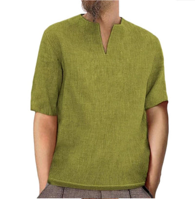 Men's cotton linen linen solid color V-neck short-sleeved shirt