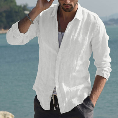 Men's cotton cardigan long-sleeved shirt wrinkled man