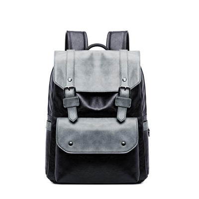 Man's trend pu shoulder bag schoolbag male college students backpack leather backpack