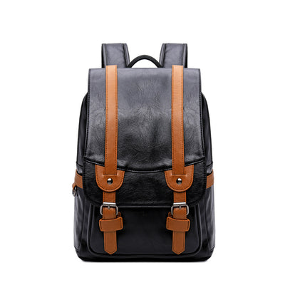 Men's pu shoulder bag retro backpack male computer backpack