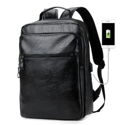 Men's shoulder bag pu leather backpack schoolbag leisure travel computer bag large capacity