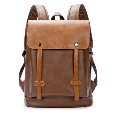 Men's casual shoulder bag man bag soft leather backpack