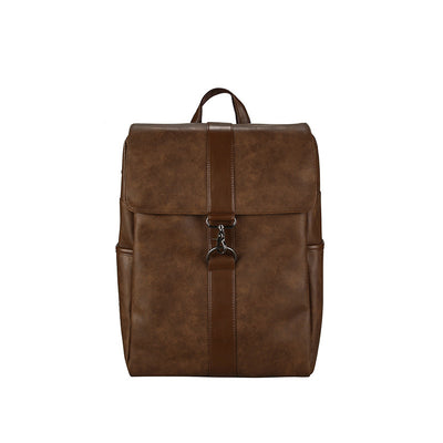 Mens leather backpack schoolbag male students bag