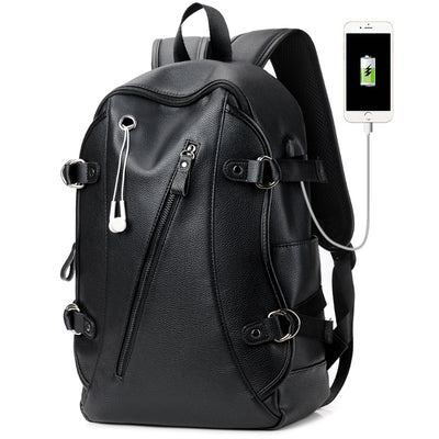 Men's shoulder bag male fashion simple leather backpack male computer package fitness package