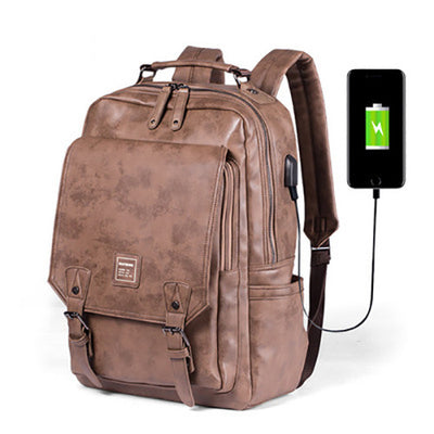 Men's backpack shoulder bag backpack PU multifunction storage compartment package