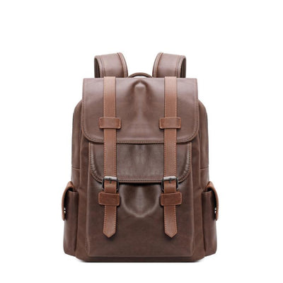 Men's pu shoulder bag man bag retro leather students backpack schoolbag