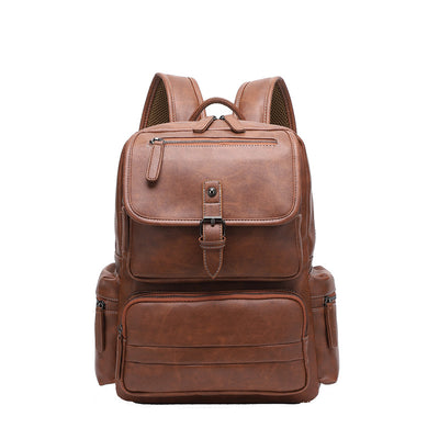 Men's retro shoulder bag man pu backpack schoolbag male college students backpack