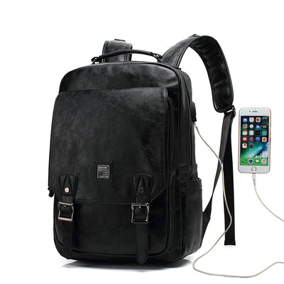 Men's high-capacity backpack schoolbag PU bag man bag