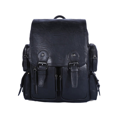 Men's retro men pu leather shoulder bag schoolbag backpack computer bag
