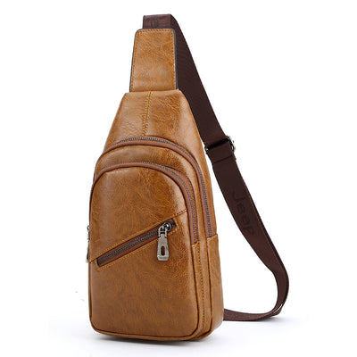 Men's Genuine PU Leather Business Casual Chest Bags