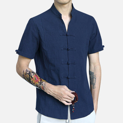 Mens Cotton Tang Suit Chinese Style Shirts Casual Slim Tops Retro T-shirt