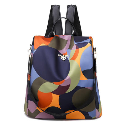 Women's Fashion Print Waterproof Nylon Anti-theft Large Capacity Zipper Backpack