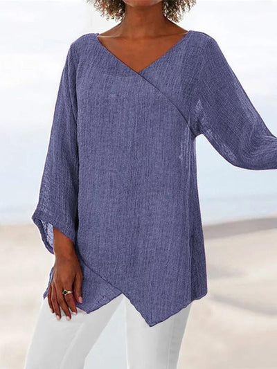Woman Fashion Paneled V Neck Solid 3/4 Sleeve Shirts & Tops