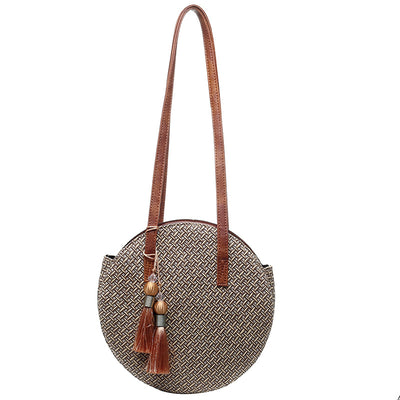 Women's Large Handwoven Straw Round Popularity Straw Bag