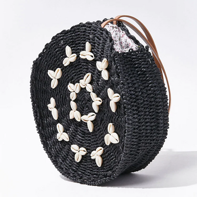 Cowrie Shell Straw Tote Bag