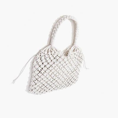 Braided Open-Knit Tote Bag
