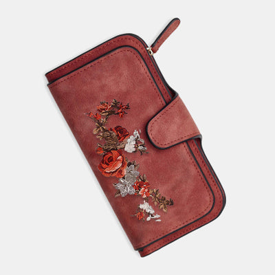 Women Rose Four Fold Wallet Purse 14 Card Slot 5.5 Inch Phone Bag