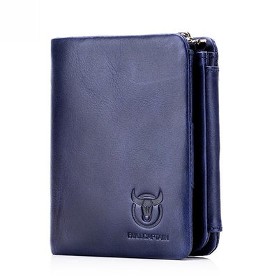 RFID Men Trifold Cow Leather 15 Card Slot Wallet Solid Casual Coin Purse