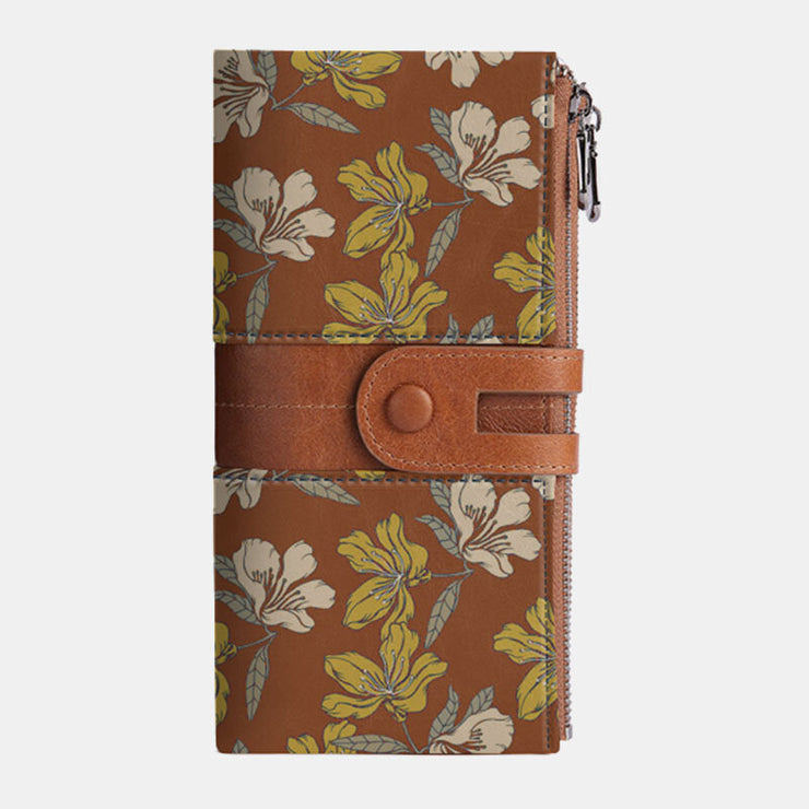 Flower Genuine Leather RFID Antimagnetic 13 Card Slots Phone Bag