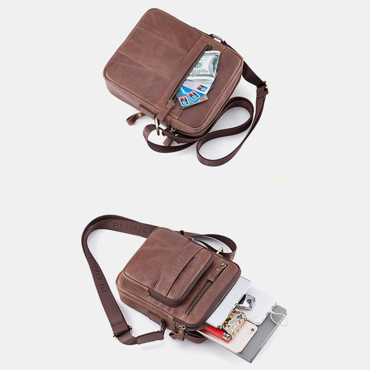 Men Genuine Leather Phone Bag Solid Crossbody Bag