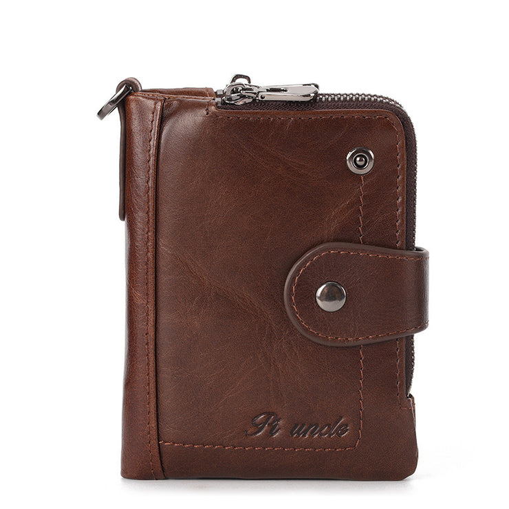 Men's Genuine Leather Credit Cards Holder Double Zipper Coins Pouch Mini Wallet