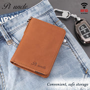 new leather men's wallet leather short paragraph folded documents, multi-card position brush RFID anti-theft leather fashion tide