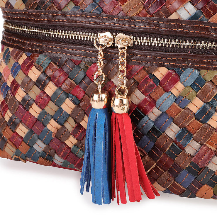 Women's Genuine Leather Woven Bucket Bags Bohemian Handmade Crossbody Bags