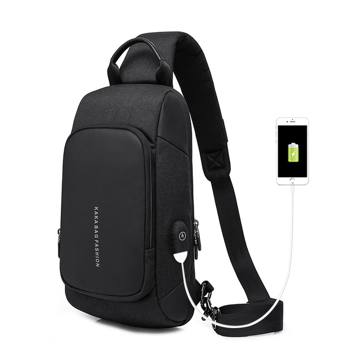 Men's Waterproof Short Trip mobile phone bag USB Shoulder Sling Bag