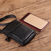 Genuine Leather Multi-functional 6/7 Inches Phone Bag Waist Bag Crossbody Bag For Men