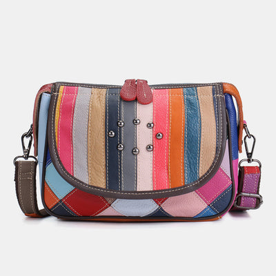 Women's Genuine Leather Patchwork Shoulder Bags Crossbody Bags