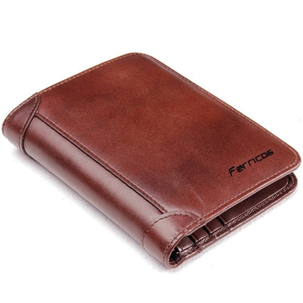 Men's RFID Antimagnetic Genuine Leather Vintage Tri-fold Large Capacity Short Wallet (free shipping)