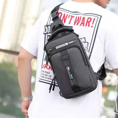 Men's Leisure USB Charging Sling Bag