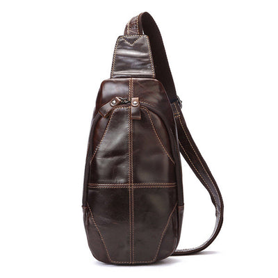 Men's Genuine Leather Crossbody Bag Outdoor Leisure Retro Backpack