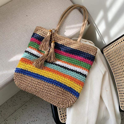 Women's Ladies Fashion Straw Woven Rainbow Color Shoulder Bag
