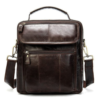 Men's Oil Wax Leather Shoulder Bag Vintage Messenger Crossbody Bag