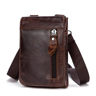 Men's  Genuine Leather Messenger Bags Vintage High Quality Crossbody Bag