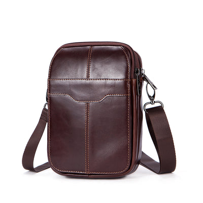 Men's Retro Fashion Leather Waist Bag Outdoor Casual Multifunction Messenger Shoulder Crossbody Bag