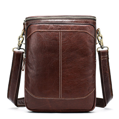 Men's Genuine Leather Business Card Holder Crossbody  Shoulder Bag