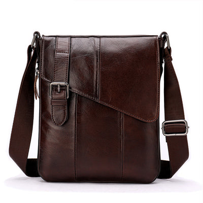 Men's Travel Genuine Cowhide Leather Casual Shoulder Crossbody Bags Zipper & Hasp Business Solid Messenger Bag