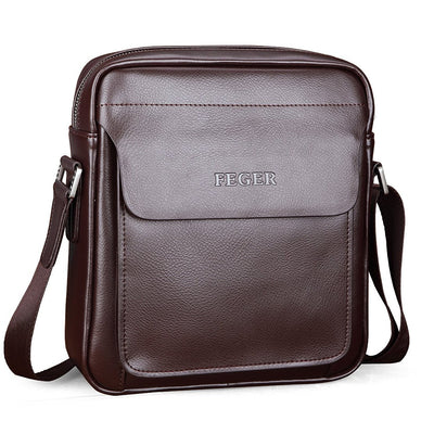 Men's Split Leather Business Casual Handbag Crossbody Messenger Bag