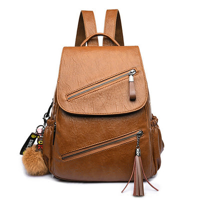 Women's Solid Bag Casual Flap Backpack